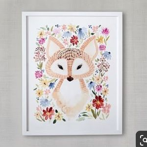 Sweet Floral Fox Artwork by Minted